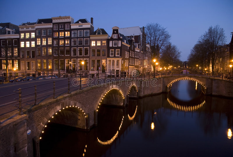 Nacht 9 van Amsterdam royalty-vrije stock fotografie