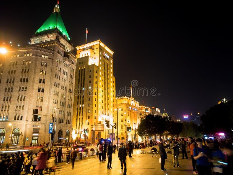 Nacht auf der Promenade, Shanghai, China lizenzfreie stockfotos