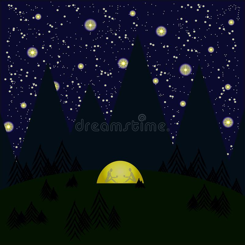 Nacht, Berge, Bäume, Wald, Zelt glüht gelbe, graue Schatten der Frau und die Männer im Zelt, sternenklarer nächtlicher Himmel lizenzfreie abbildung