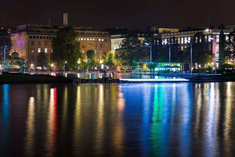 Nacht Bergen, Noorwegen stock foto's