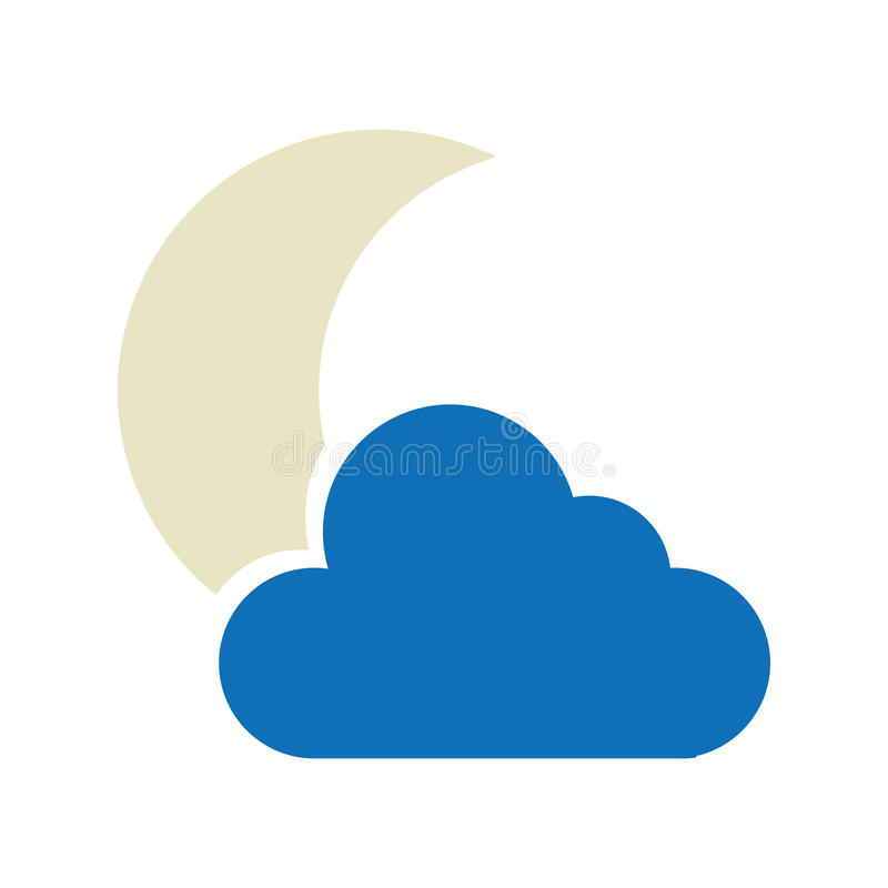 Nacht bewolkt weer geïsoleerd pictogram royalty-vrije illustratie