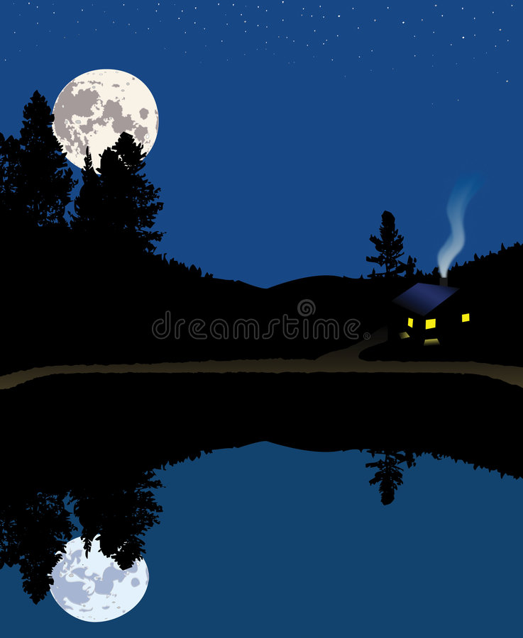Nacht bij de Cabine van de Berg van het Meer royalty-vrije illustratie