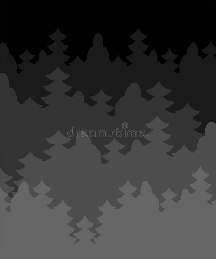 Nacht bosachtergrond Donkere Struikgewasbomen Vector Illustratio royalty-vrije illustratie