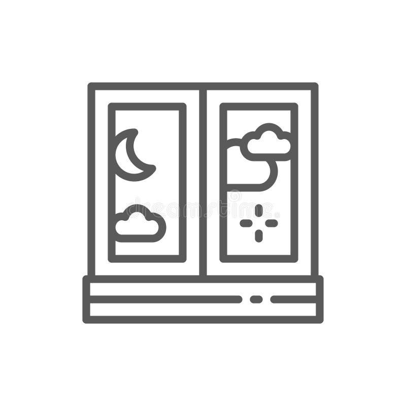 Nacht buiten het pictogram van de vensterlijn vector illustratie