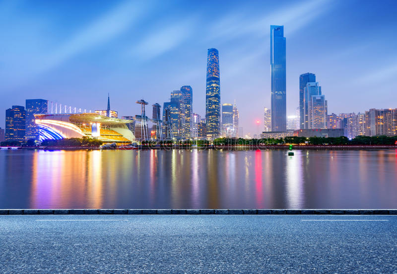 Nacht Chinas Guangzhou stockfotografie