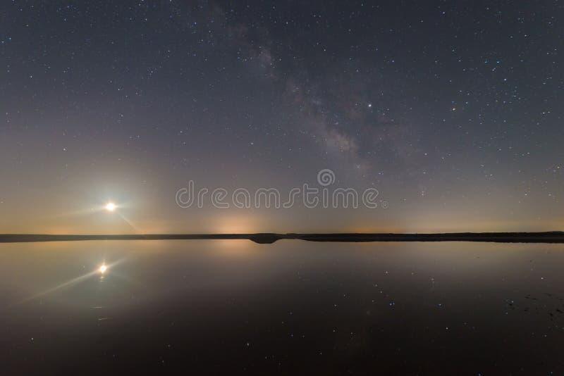 Nacht in de lagune stock afbeelding