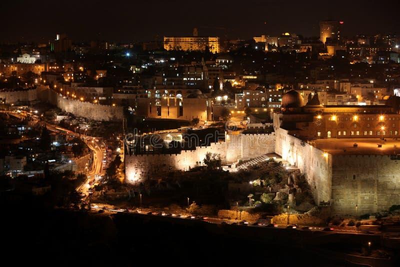 Nacht in der alten Stadt Jerusalem stockfotografie