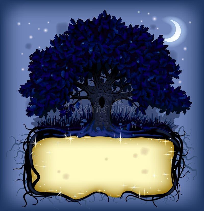Nacht eiken boom met een banner stock illustratie