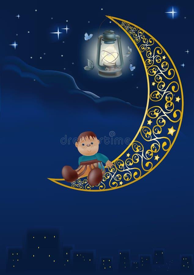 Nacht eines Sternes stock abbildung