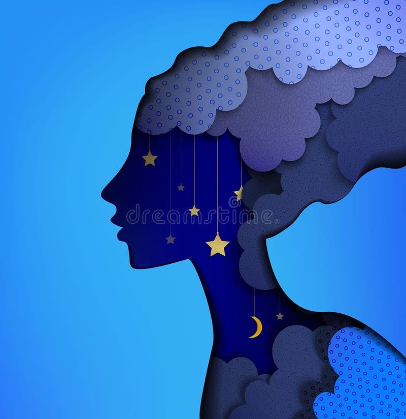 Nacht-Fee, Papier-layears feenhaftes Frauenprofil auf dem nächtlichen Himmel, Nachtfeenhaftes Traumkonzept, stock abbildung