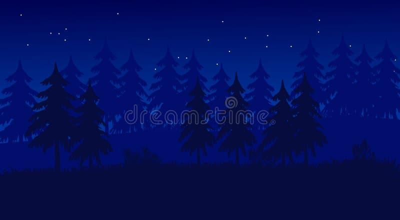 Nacht in Forest Flat Landscape Illustrator stock foto's