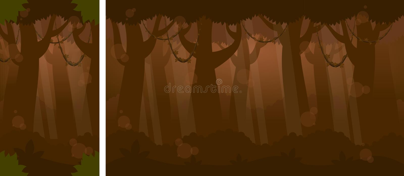 Nacht in Forest Video Game Background royalty-vrije illustratie