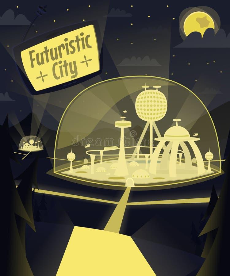 Nacht futuristische stad royalty-vrije illustratie