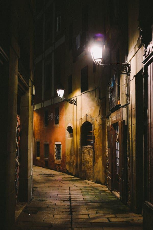 Nacht in Geboren Gr, Barcelona royalty-vrije stock afbeelding