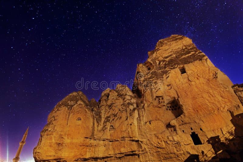 Nacht-Goreme-Stadt, die Türkei lizenzfreie stockbilder