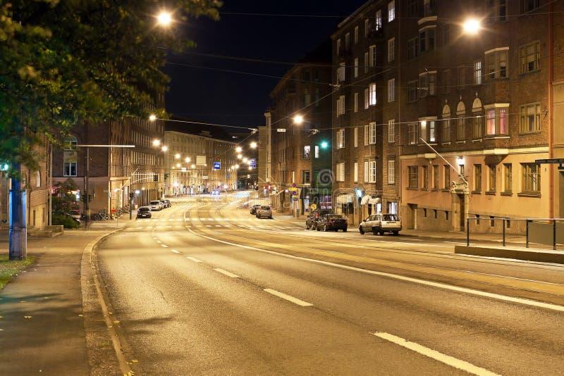 Nacht Helsinki stock foto's