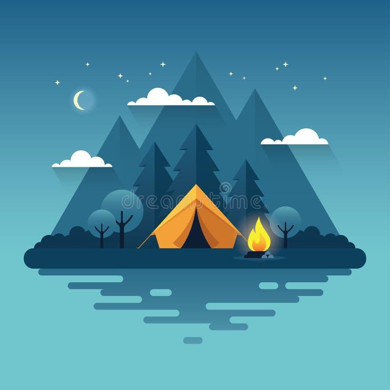 Nacht het kamperen illustratie in vlakke stijl vector illustratie