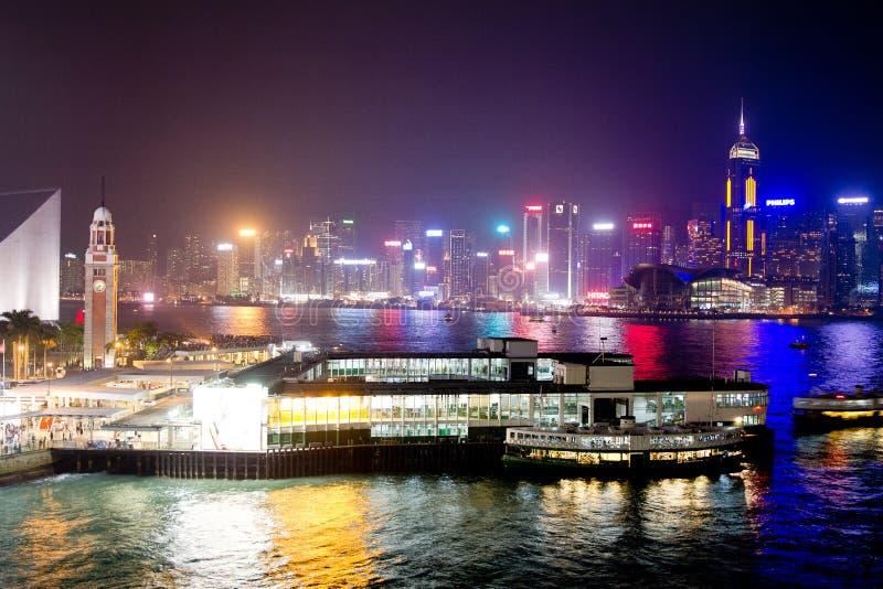 Nacht in Hong Kong stockfotografie