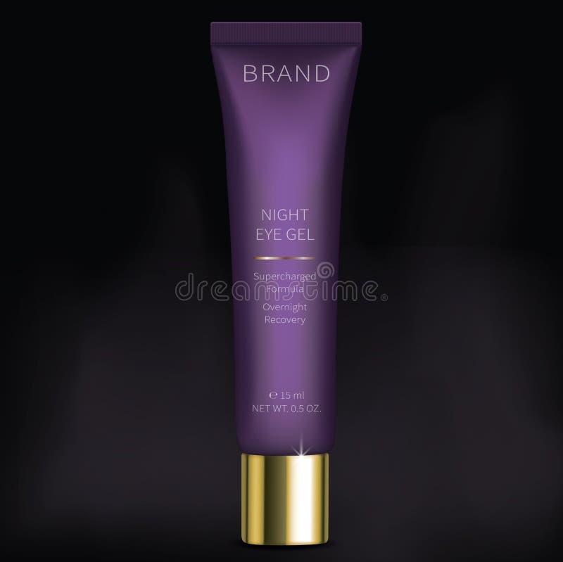 Nacht kosmetisch gel voor de zorg van de ogenhuid stock illustratie