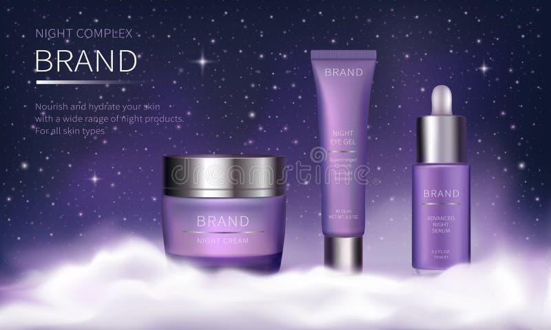 Nacht kosmetische reeks voor de zorg van de gezichtshuid vector illustratie