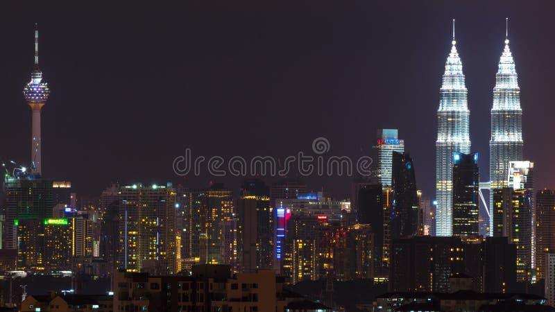 Nacht in Kuala Lumpur, Maleisië royalty-vrije stock afbeelding