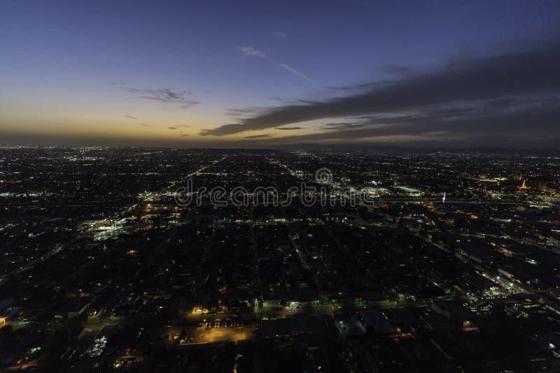 Nacht Luchtmening de Zuid- van Los Angeles Californië royalty-vrije stock afbeeldingen