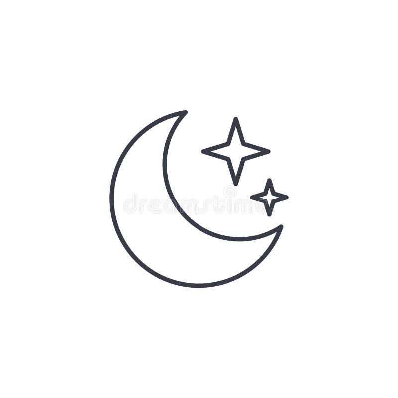 Nacht, Maan en ster dun lijnpictogram Lineair vectorsymbool stock illustratie
