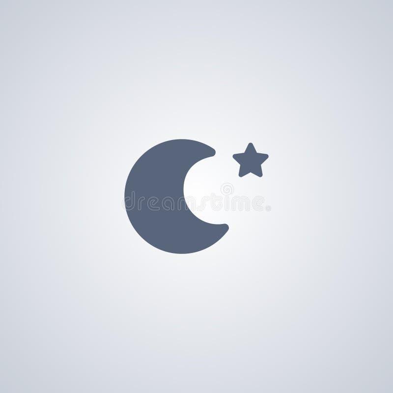 Nacht, Maan, vector beste vlak pictogram stock illustratie