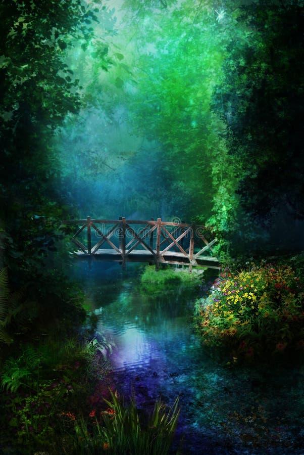 Nacht in magisch bos royalty-vrije illustratie