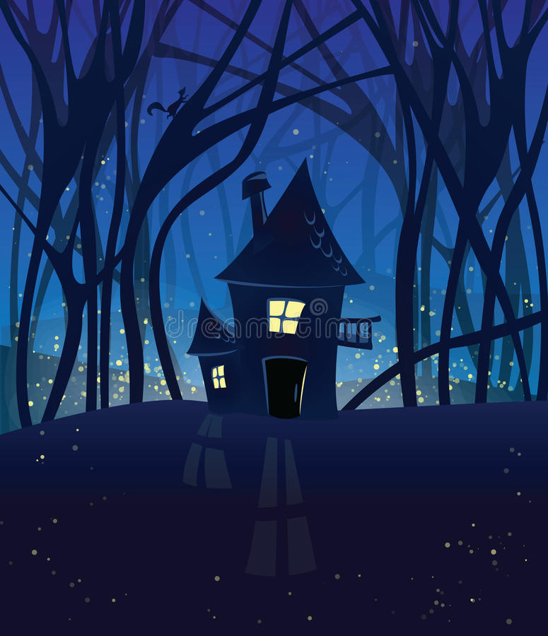 Nacht magische scène met een huis in het hout. royalty-vrije illustratie