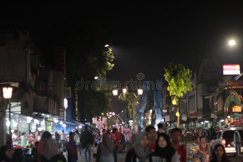 Nacht in Malioboro Indonesië stock afbeelding