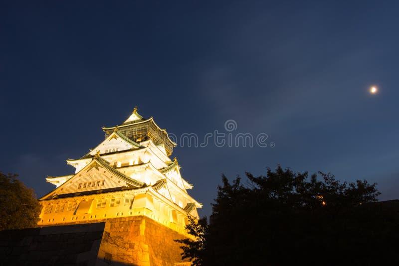 Nacht met het kasteel van Osaka stock foto's