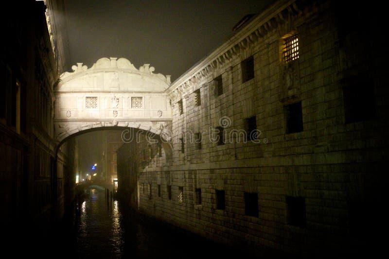 Nacht mistig Venetië stock fotografie