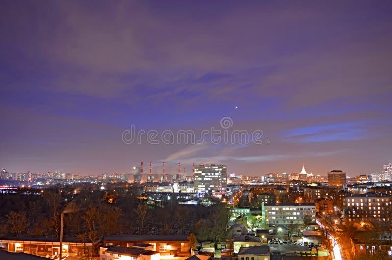 Nacht in Moskau stockfotos