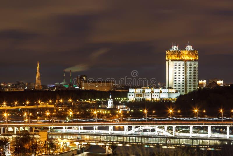 Nacht Moskou, nachtstad royalty-vrije stock afbeeldingen