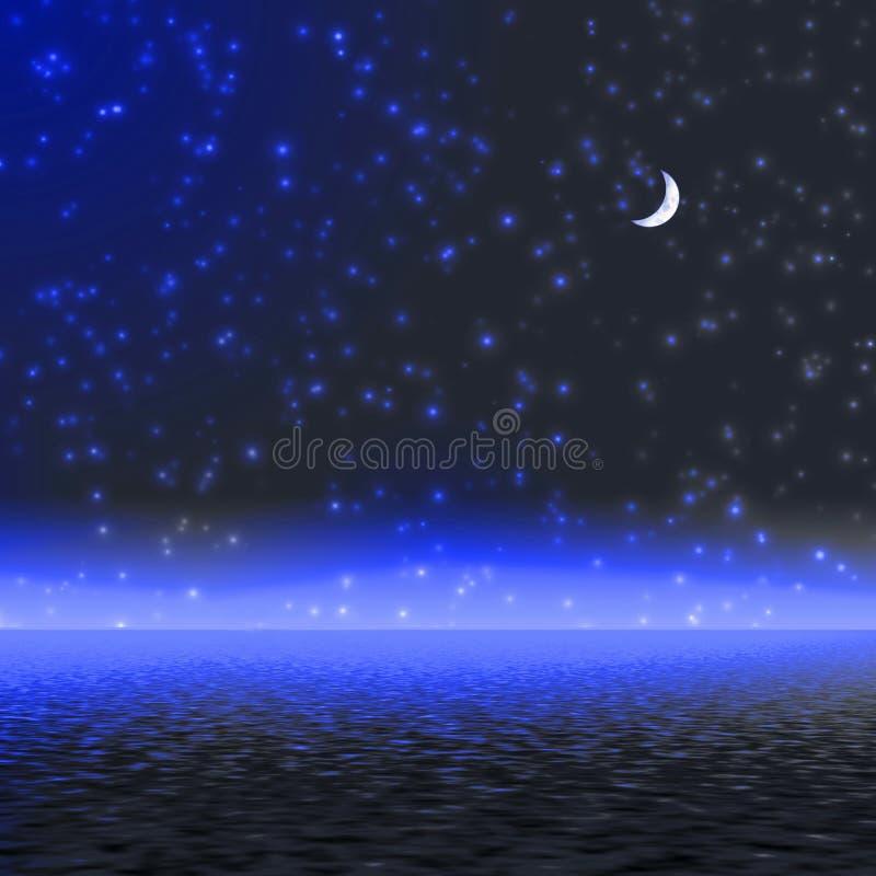Nacht. Mystiek maanlicht. royalty-vrije illustratie