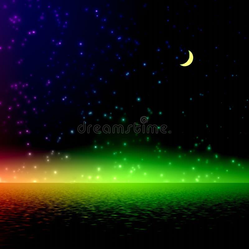 Nacht. Mystische Regenbogenleuchte. lizenzfreie abbildung