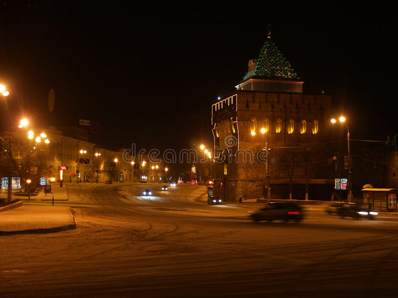 Nacht in Nizhny Novgorod stock afbeelding
