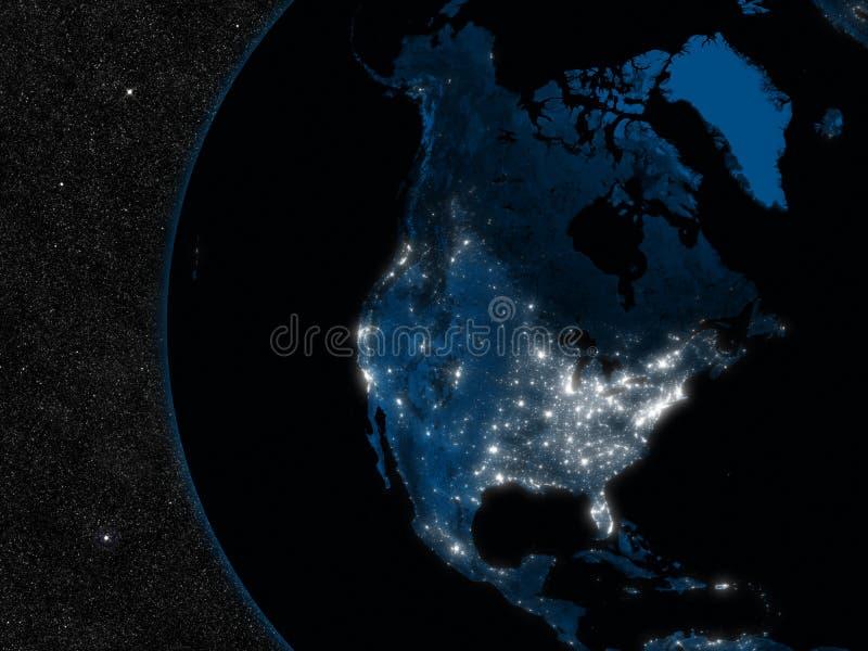 Nacht in Noord-Amerika vector illustratie