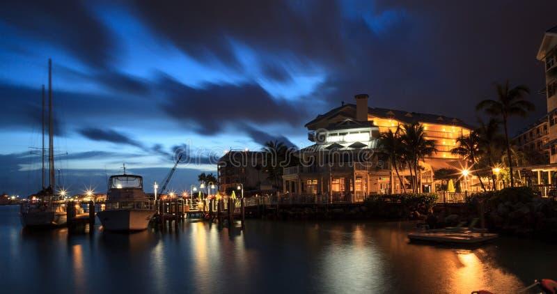 Nacht Oceaanmening van het dok in Hyatt Centric Key West royalty-vrije stock fotografie