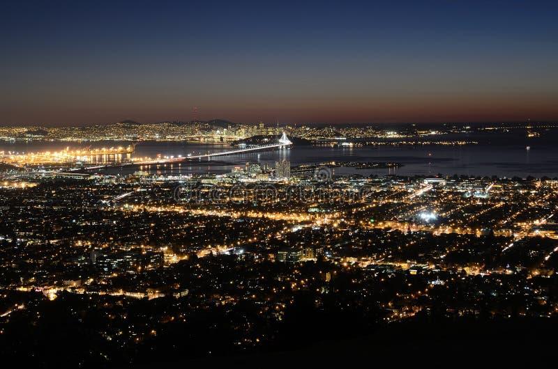 Nacht over San Francisco royalty-vrije stock afbeelding