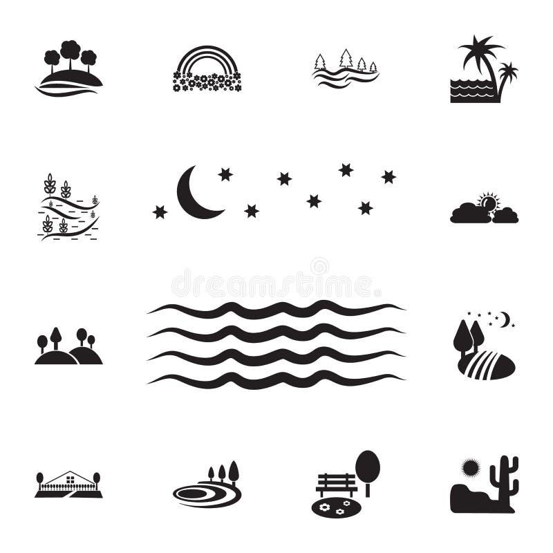 nacht overzees pictogram Gedetailleerde reeks landschappenpictogrammen Premie grafisch ontwerp Één van de inzamelingspictogrammen vector illustratie