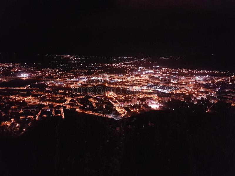 Nacht Ponferrada stockfotos