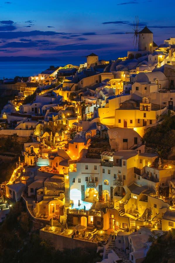 Nacht in Santorini stock fotografie