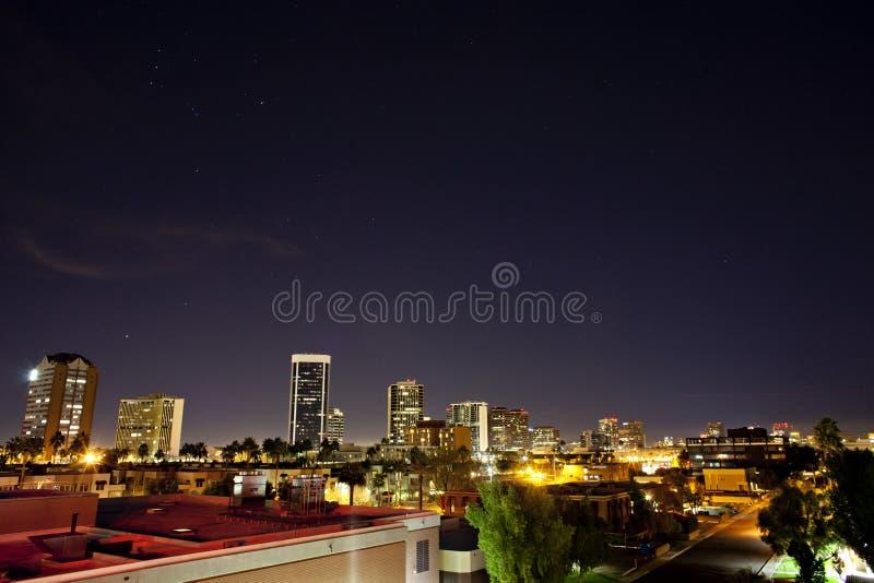 Nacht scape van Phoenix Arizona royalty-vrije stock afbeeldingen