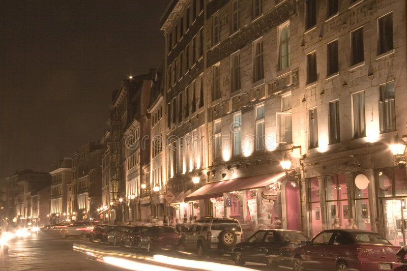 Nacht Scence van Oud Montreal stock afbeeldingen