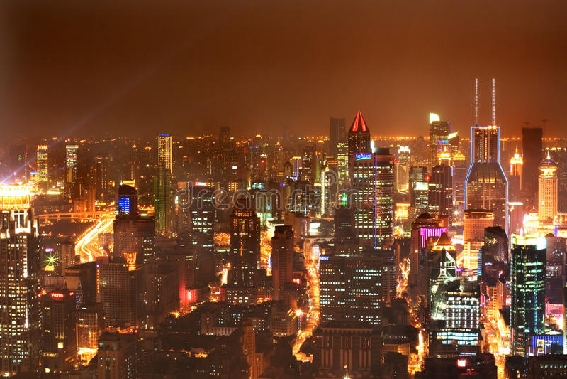 Nacht Shanghai 3 royalty-vrije stock afbeelding