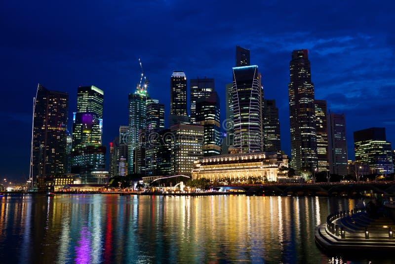 Nacht Singapore royalty-vrije stock foto's