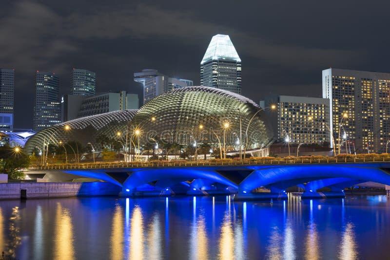 Nacht in Singapur stockfotografie