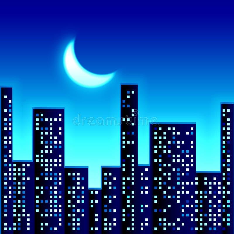 Nacht in stad royalty-vrije illustratie